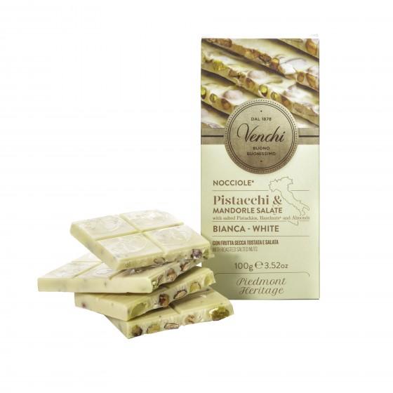 Tableta de chocolate blanco con avellanas, almendras y pistachos salados 100 g