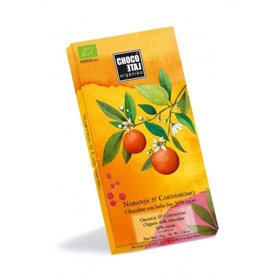 Chocolate con leche 36% cacao con naranja y Cardamomo BIO 70 g