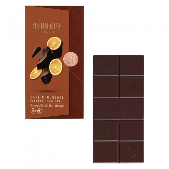Tableta de chocolate negro (55% cacao) con pepitas de naranja 100 g