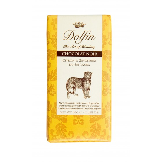 Chocolate negro con limón y jengibre de Sri Lanka 30 gr