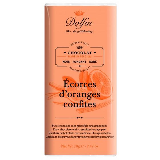 Chocolate negro con cortezas de naranja confitada 70 g