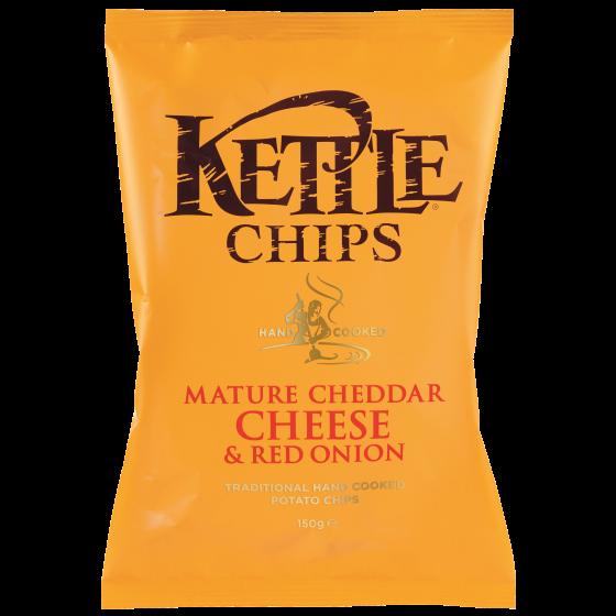 Patatas fritas con queso Cheddar curado y cebolla roja 150 g