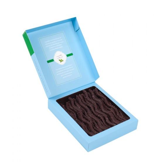 Finos y delicados sarmientos de chocolate negro 52% a la menta 125 g