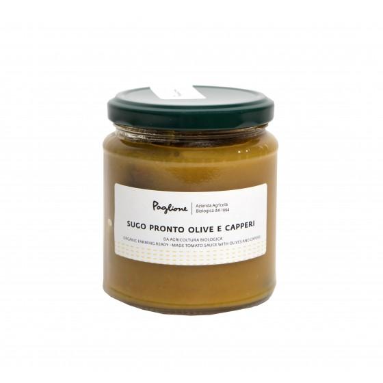 Salsa de tomate amarillo con aceitunas y alcaparras 314 gr