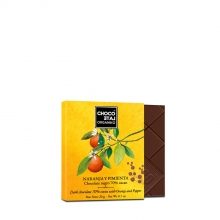Chocolate negro 70% cacao, naranja y pimienta BIO 20 g