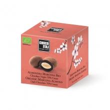 Bombón de almendra de Marcona, chocolate negro 70% cacao BIO 80 g