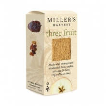 Miller's Harvest. Crackers con fruta deshidratada de manzana, pasas sultana y dátiles 125 g