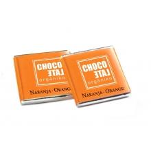Napolitanas de chocolate con leche 36% cacao y naranja  BIO  5 g